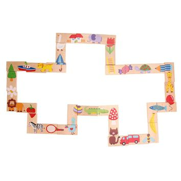 28pcs/Set Animal Dominoes Set Wooden Puzzle Cartoon Educational Baby Toys Christmas Gifts Funny Kids Games wooden Toys
