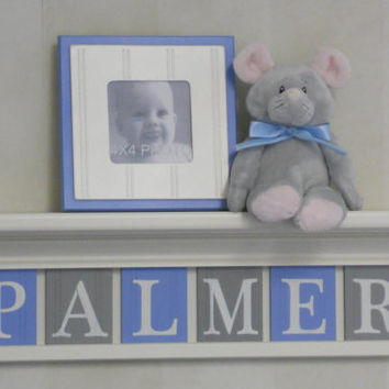 "Baby Boy Room Decoration Name Nursery Decor 24"" Linen White Shelf - 6 Wooden Wall Letters Light Blue and Gray - PALMER"