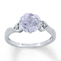 Amethyst Rose Ring Lab-Created Sapphires Sterling Silver