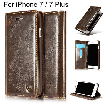 Luxury Coque For Flip Cover Apple iPhone 7 Case Genuine Real Leather Wallet Original Brand Phone Case For iPhone 7 Plus Women