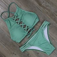 Green Solid Bandage Bikini Set Swimsuit Swimwear Bathing Suit For Women 071902