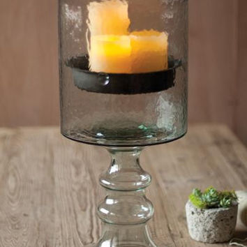 Giant Glass Candle Cylinder with Metal Insert & Glass Base