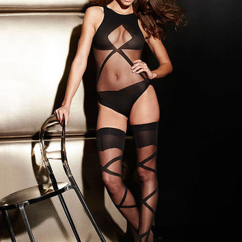 NEW Caged Teddy & Thigh High Set