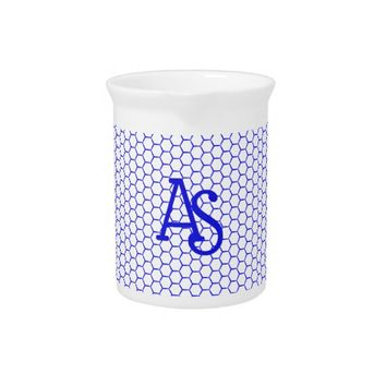 Blue pattern. Hexagonal grid. Monogram. Beverage Pitcher