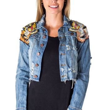 Tiger Embroidered Cropped Distressed Jean Jacket