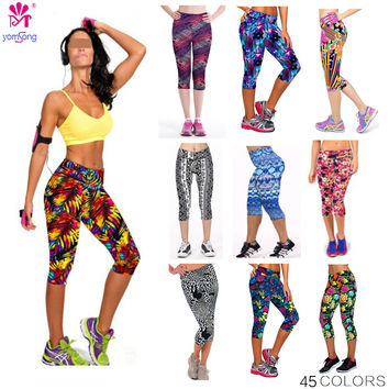 2016 Yomsong Floral Printing Capris Leggings Lady's  Casual Stretched Pants  Elastic Cropped Leggings RL156