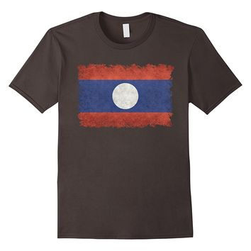 Flag of Laos T-Shirt in Vintage Retro Style