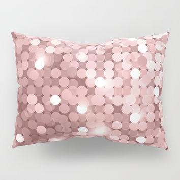 Rose gold glitter Pillow Sham by printapix