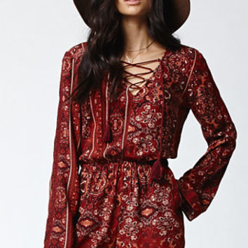 Kendall & Kylie Lace-Up Long Sleeve Romper at PacSun.com