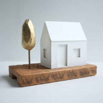Miniature paper house light with single gold tree  by 2of2 on Etsy