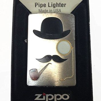 Zippo Custom Lighter - Smoking Man w/ Top Hat, Pipe, Eye Glass & Mustache Rare!