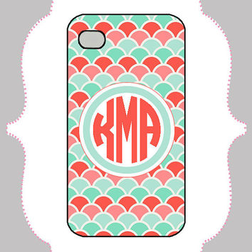 iPhone Case- Pink/ Mint Scale Monogram- iPhone 4 Case, iPhone 4s Case, iPhone 5 Case, Monogram Case, Personalized iPhone Case