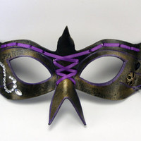 Elegant Masquerade Mask, Domino Bird in Purple and Aged Gold with Ribbon Corset, Masked Ball, Wedding Elegance