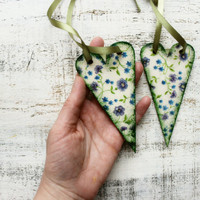 Wooden hearts Valentines day decor, Valentine gift white green blue floral