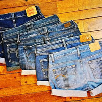 Vintage Jean Shorts-Cuffed Jean Shorts-Rolled up Shorts-Hipster-Boho-Grunge-Hippie-Frayed