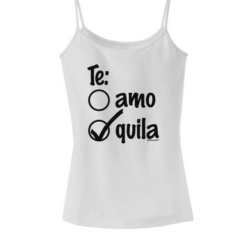 Tequila Checkmark Design Spaghetti Strap Tank  by TooLoud