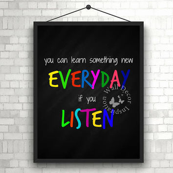Learn & listening | Colorful | Teacher | School | Chalkboard | Elementary school | Quote | Art Print | Typography | Classroom | Printable