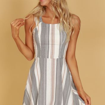 Classic Multi Striped Dress Black