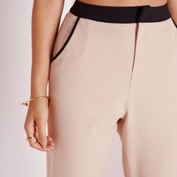 Missguided - Contrast Waistband Cigarette Pants Camel