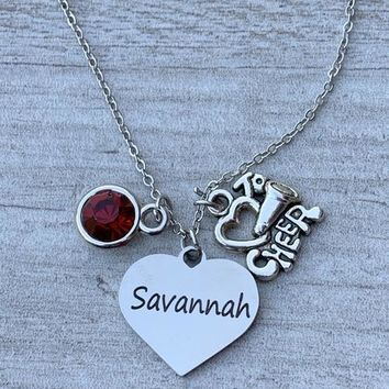Personalized Engraved Cheer Heart Necklace with Birthstone