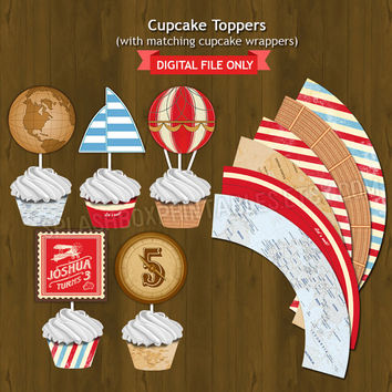 Vintage Travel Cupcake toppers with Free Cupcake Wrapper - Aviator Hot Air Balloon Party Circles Cupcake Topper for Birthday or Baby Shower