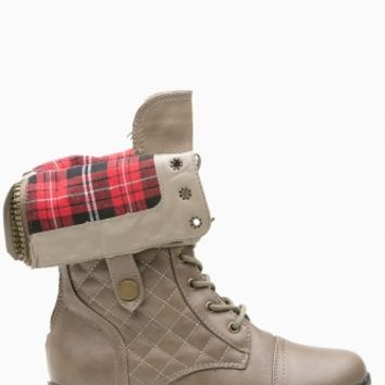 Taupe Faux Leather Fold Over Plaid Combat Boots @ Cicihot Boots Catalog:women's winter boots,leather thigh high boots,black platform knee high boots,over the knee boots,Go Go boots,cowgirl boots,gladiator boots,womens dress boots,skirt boots.