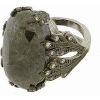 Large Rustic Diamond Double Leaf Ring in Platinum - Cathy Wa... - Polyvore