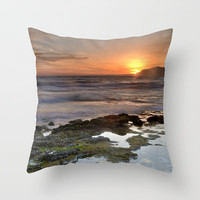 Water curves at sunset Throw Pillow by Guido Montañés