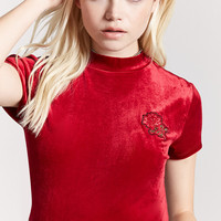 Rose Embroidered Velvet Top