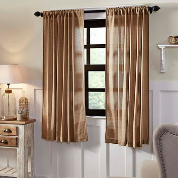 Burlap Natural Short Panel Curtains