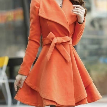 New Style Fashion Women Korean Style Orange Woolen Dress Coat (M/L/XL/XXL)