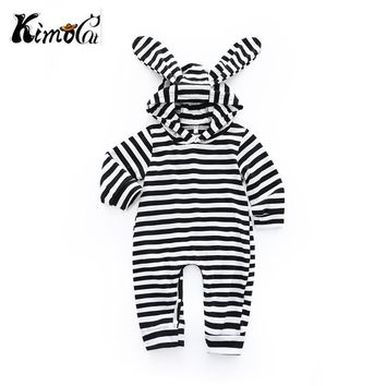 Kimocat Rompers Autumn Long Sleeve Newborn Baby Boy Girl rabbit ears Costume Romper Playsuit Baby Clothes Hooded Cute Clothing