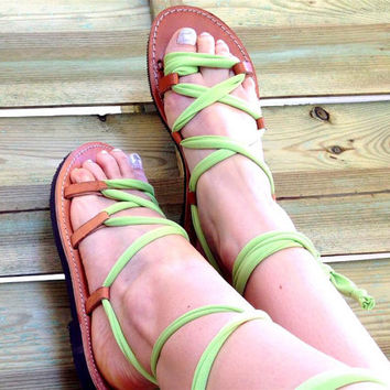 Gladiator Sandals - Fresh Green Jersey