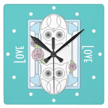 Retro Owls & Roses Personalized Girly Wall Clocks: Her Birthday, Wedding, Valentine's Day, or Mother's Day Gift Idea: Love