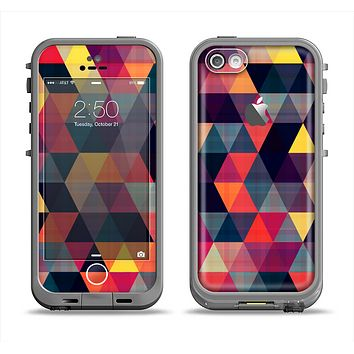 The Triangular Abstract Vibrant Colored Pattern Apple iPhone 5c LifeProof Fre Case Skin Set