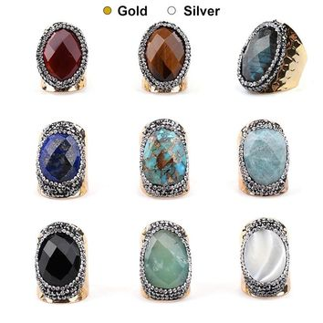 BOJIU Trendy Gold & Silver Big Stone Rings For Women Boho Black Crystal Labradorite Blue Sandstone Tiger Eye Ring Jewelry RI037