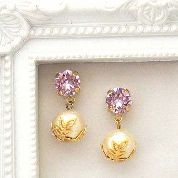 Classy 10 mm Cotton Pearl Magnetic Earrings with Violet Swarovski Crystals, Bridal Pearl Magnetic Earrings, Wedding Pearl Magnetic Earrings