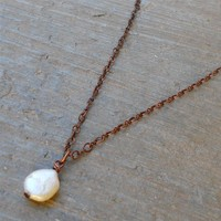 Antique Copper Chain and Pearl Necklace