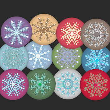 "Snowflakes Gift Tags, 2"" circles, digital hang tag collage sheet, winter/christmas, printable round cards, parties & gifts, Buy 2 Get 1 Free"