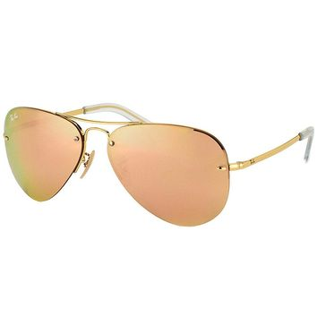 Ray Ban RB 3449 001/2Y Gold Metal Aviator Sunglasses Rose Mirror Lens