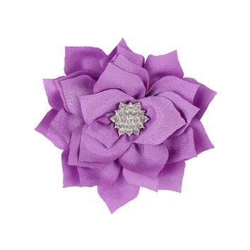 Baby Girl 3.54 Inch Hair Clips with Jeweled Flower