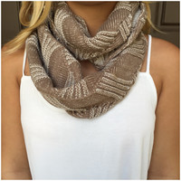 Tan Up the Ladder Knit Infinity Scarf