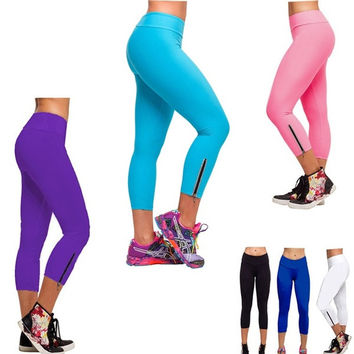 Women Tights Capri YOGA Running Sport Pants High Waist Cropped Fitness Leggings B_W = 1932812676