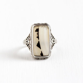 Sale - Vintage Sterling Silver Art Deco Landscape Agate Ring - 1920s Filigree Size 6 Clear Rectangular White Brown Gem Statement Jewelry