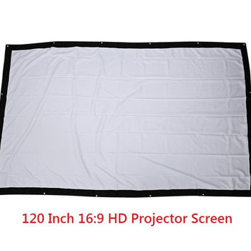 120 Inch 16:9 HD Projector Screen Portable Folded Front Projection Screen Fabric with Eyelets without Frame For UNic UC46 UC40