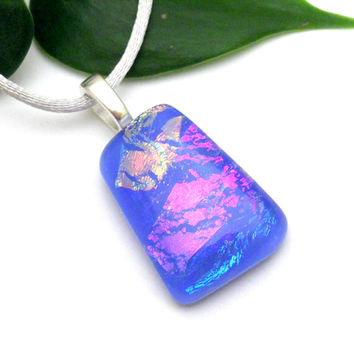 Periwinkle Blue Fused Glass Pendant with Dichroic Glass in Pink Peach Gold