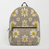 Star fall of fantasy flowers on pearl lace Backpack by Pepita Selles
