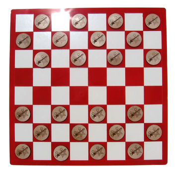 Laser-Etched Bass Guitar vs. Electric Guitar Checkers Set