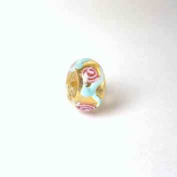 Euro style 6mm large hole lampwork bead,sparkle glass handmade big hole bead,euro fit charm beads,dreadlock bead,hair bead