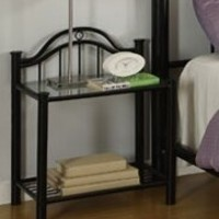 Black Metal nightstand art deco style with glass top shelf